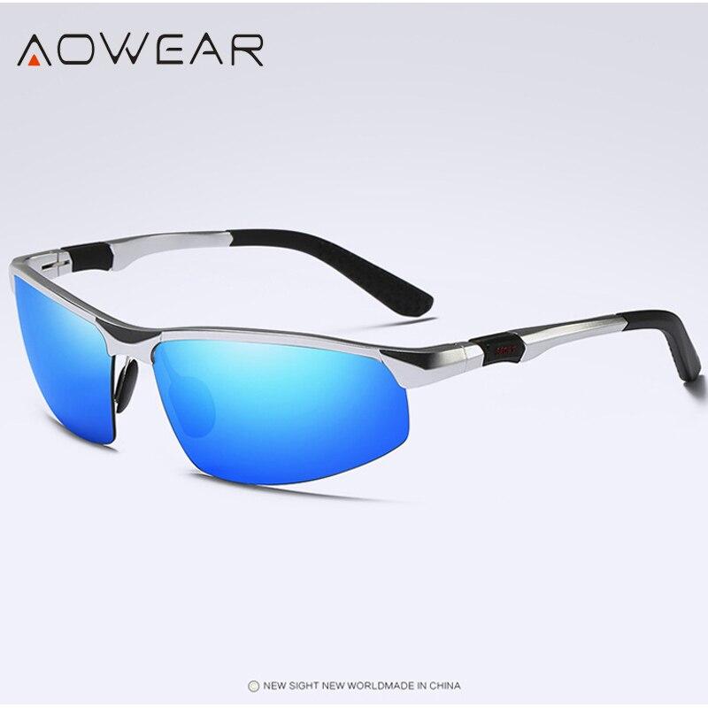Новое поступление, мужские солнцезащитные очки AOWEAR, поляризационные, спортивные, солнцезащитные очки, мужские, UV400, антибликовые, для улицы, для вождения, зеркальные оттенки, для gafas - Цвет линз: Silver Blue