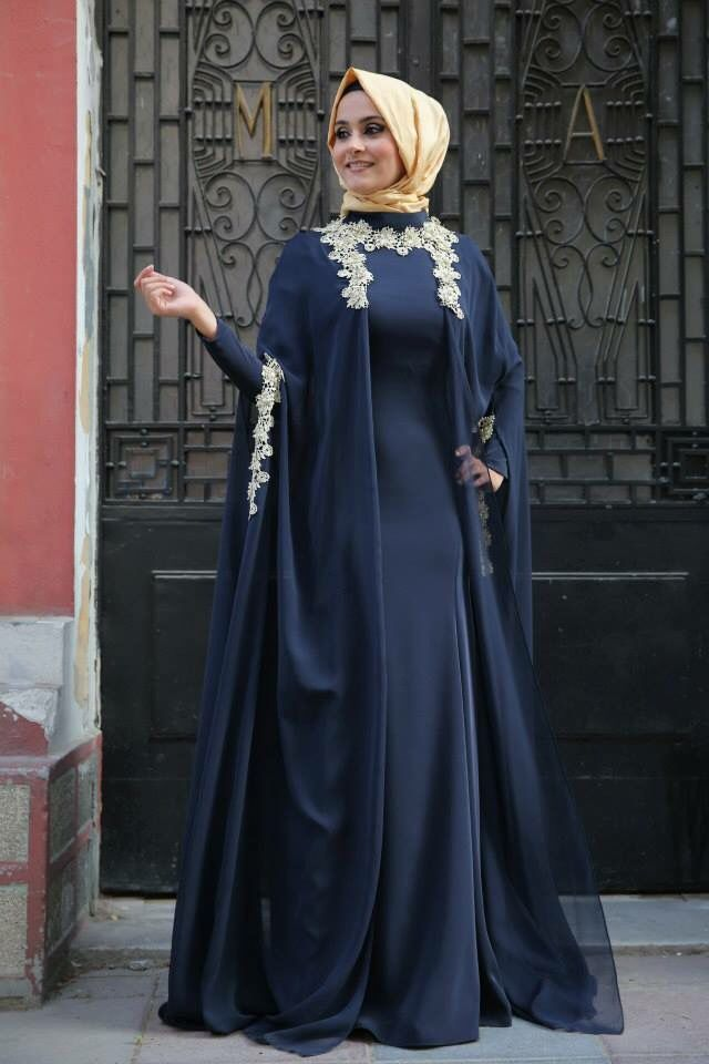 2016 Muslim Evening Gowns Navy Blue Long Sleeve Robe De Soiree Turkish font b Hijab b