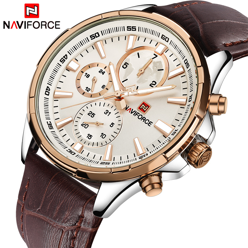 NAVIFORCE Men Fashion Casual Watches Top Luxury Brand Men's Quartz 24 Hours Date Clock Man Leather Waterproof Sports Wrist Watch top brand luxury naviforce watches men fashion leather quartz date big dial clock casual sports male wrist watch montre homme