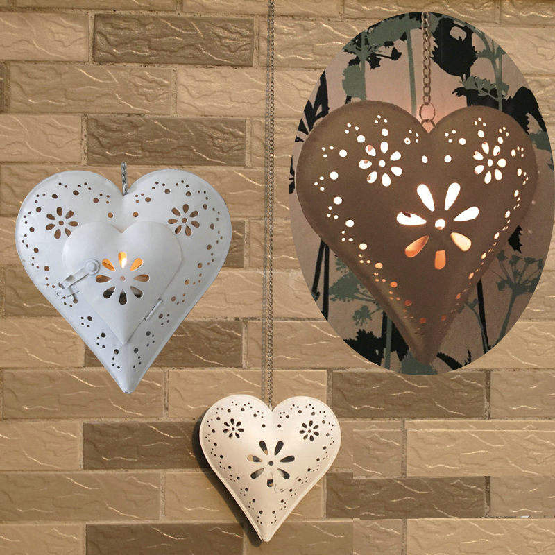 Outside Candle Holders: Hanging Outdoor Heart Tealight Holder With Floral Design