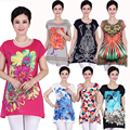 2016 New Big Plus Size Women T shirt 5XXXXXL,4XL~XL Casual Summer Flower Floral Print Tops Tunic Blusas Vintage Tee shirts Femme