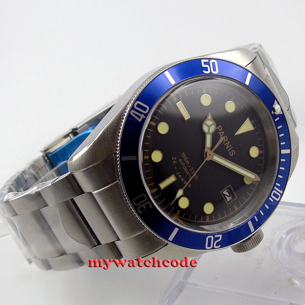 mm Parnis black dial blue bezel jewels Miyota automatic mens watch