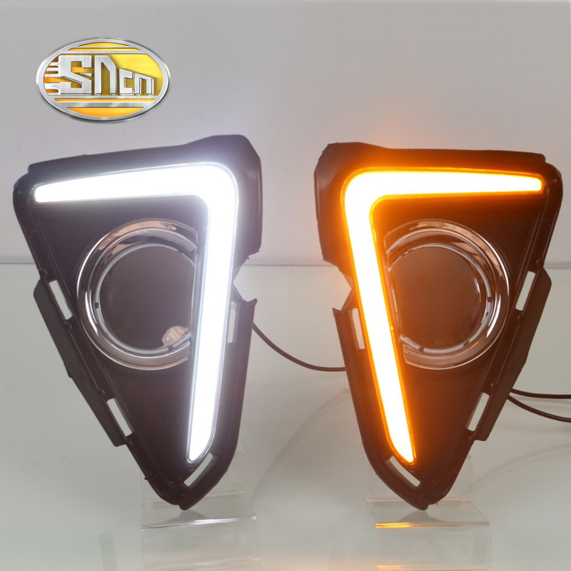 SNCN With Yellow Turning Function Matte ABS Cover 12V Car DRL LED Daytime Running font b