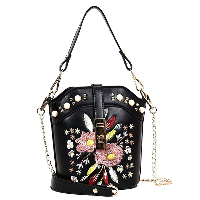 Designer Women Leather Hobo Bucket Bags Mini Flower Embroidery Pearl Chain  Retro Floral Handbag Luxury Tote Bag High Quality 7f31f553a0946