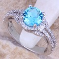 Stunning Sky Blue Created Topaz White CZ 925 Sterling Silver Ring For Women Size 5 / 6 / 7 / 8 / 9 / 10  S0444