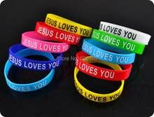 Силиконовый браслет 50 цветов с изображением Иисуса любит вас