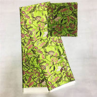 High Quality Ankara African Wax Print Silk Fabric With Chiffon Scarf Matching Flower Print Silk Lace Fabric