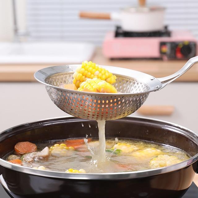 Passoire à frire en acier inoxydable   304, passoire à maille profonde, friteuse à lhuile, cuillère à frire, nouilles tamis à boulettes, outils de cuisine, ustensiles de cuisine