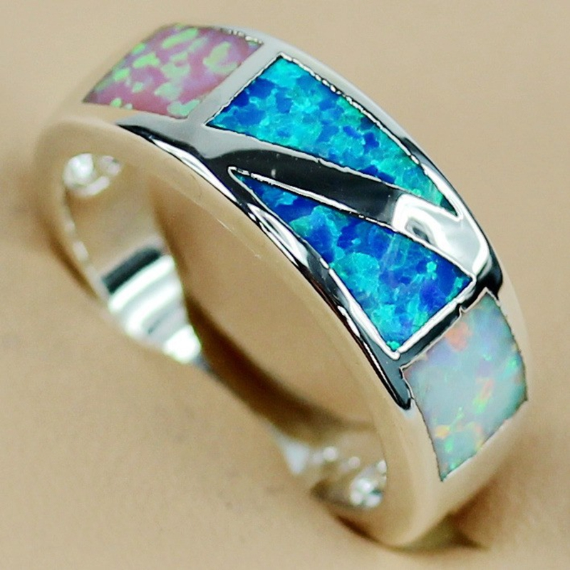 SHUNXUNZE Noble Generous engagement Wedding rings for women pink white blue mix opal oblong best sell Silver Plated R3561 size 6