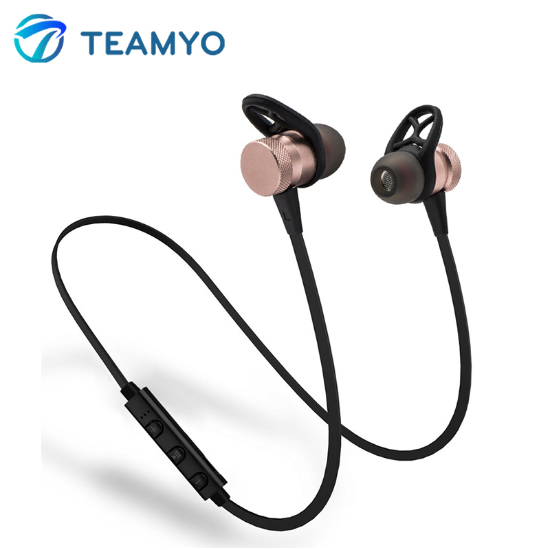 Teyo Wireless Bluetooth Earphones Sport Running Headphones Bluetooth Stereo Bass Headsets Metal Magnetic Earbuds With Mic magnetic switch earphones sports running wireless earbuds bass bluetooth headsets in ear with mic for running fitness exercise