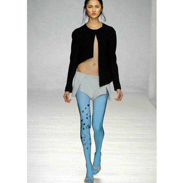 Women Flying Birds Print Art Style Fashion Tights Velvet Hosiery Pantyhose Stockings BLUE