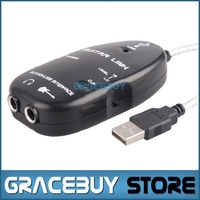 1 Pcs Brand New Black Guitar To USB Interface Link Audio Cable PC MAC Recording Adapter