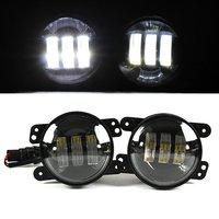 2PCS 4 Inch 30W LED Fog Light White For Jeep Wrangler JK 07 14 High Power