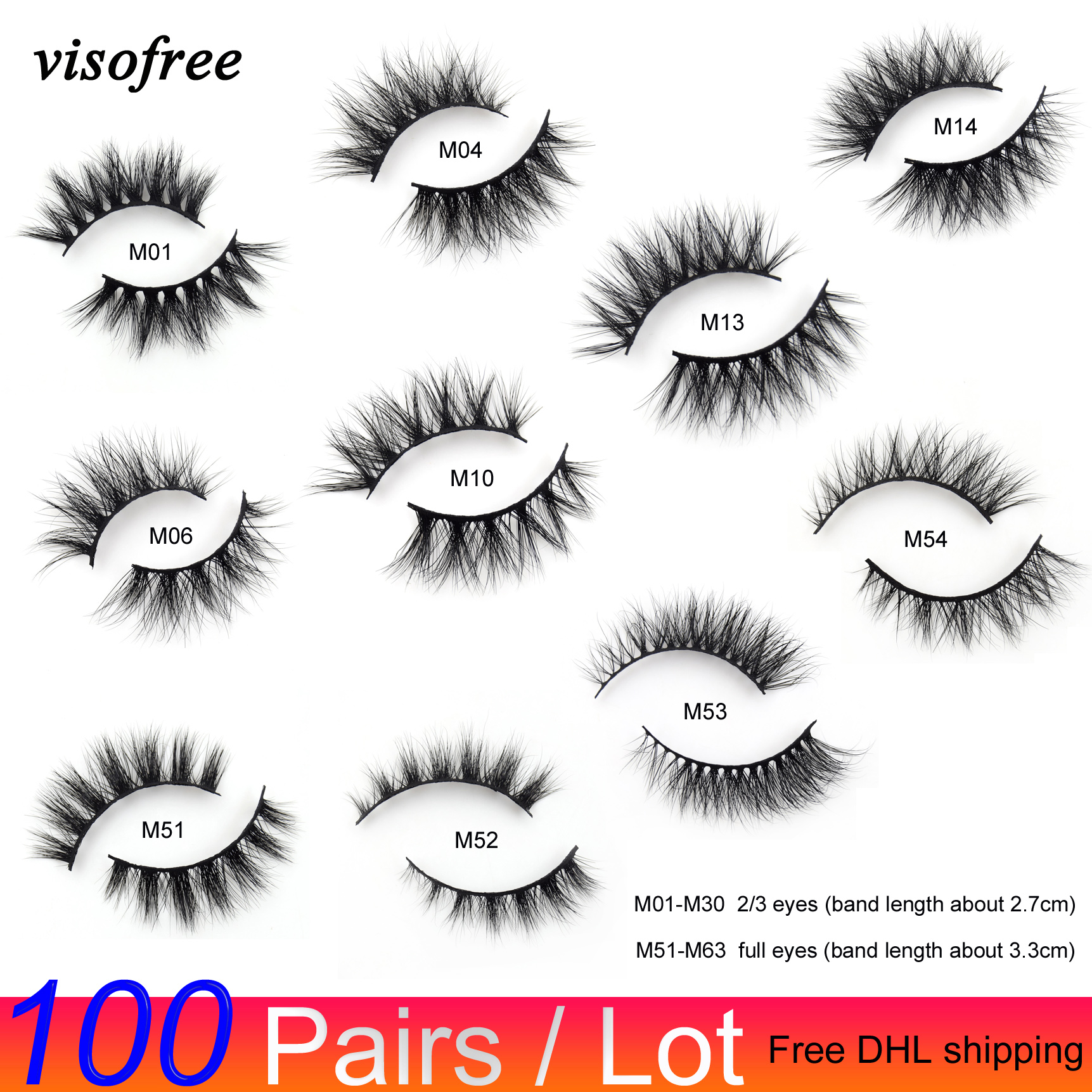 100 Pairs/lot Free DHL Visofree Wholesale 3D Mink Lashes Makeup Mink Eyelashes Natural Lashes Bulk Mink Eyelashes New Style Lash