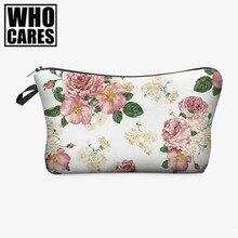 Pink roses 3D printing cosmetic bag trousse de maquillage necessaire women neceser para mujer trousse de toilette makeup bag