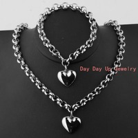 New Handmade Gift Fashion 316L Stainless Steel Silver Heart Pendant Necklace 18 Bracelet 8 Womens S