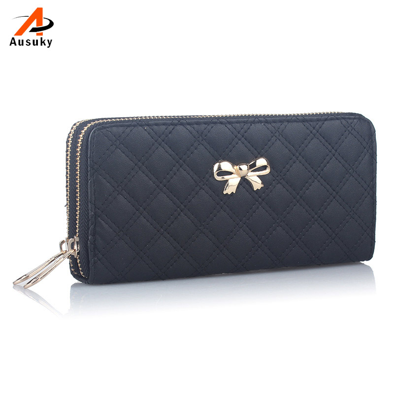 women bag  Women Design Bowknot Plaid Long Double Zip Clutch Leather Wallet Purse Coin Card Bag High Quality 19*9.5*4cm 40 women long faux leather dog pendent wallet double zip hasp purse card holder bag 9xyj