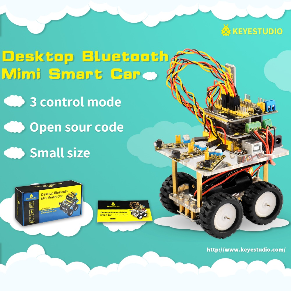 Keyestudio Desktop Bluetooth Smart Robot Car Kit for Arduino DIY Robot Education Programming+3Projects+User Manual+PDF(online) цена