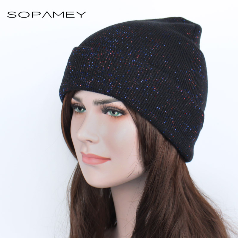 2017 Beanies Women Skullies Fashion Knitted Hat Femal Flashing Skullies Girls Black Beanie Gorros Ladies Winter Ski Cap Bonnet skullies
