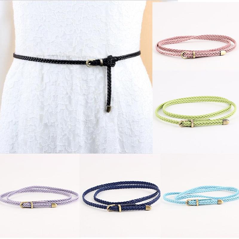 LNRRABC Sale Female Belt Ladies Newest High Quality Fashion Womens Candy Color 1PC PU Braid Pin buckle thin For Dress