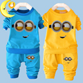2016 New baby boy clothes sets cartoon casual kids minions suits infant girl children clothing set 2pcs T shirt+pants