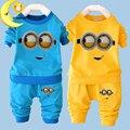 2016 New baby boy clothes sets cartoon casual kids minions suits infant girl children clothing set 2pcs T shirt+pants