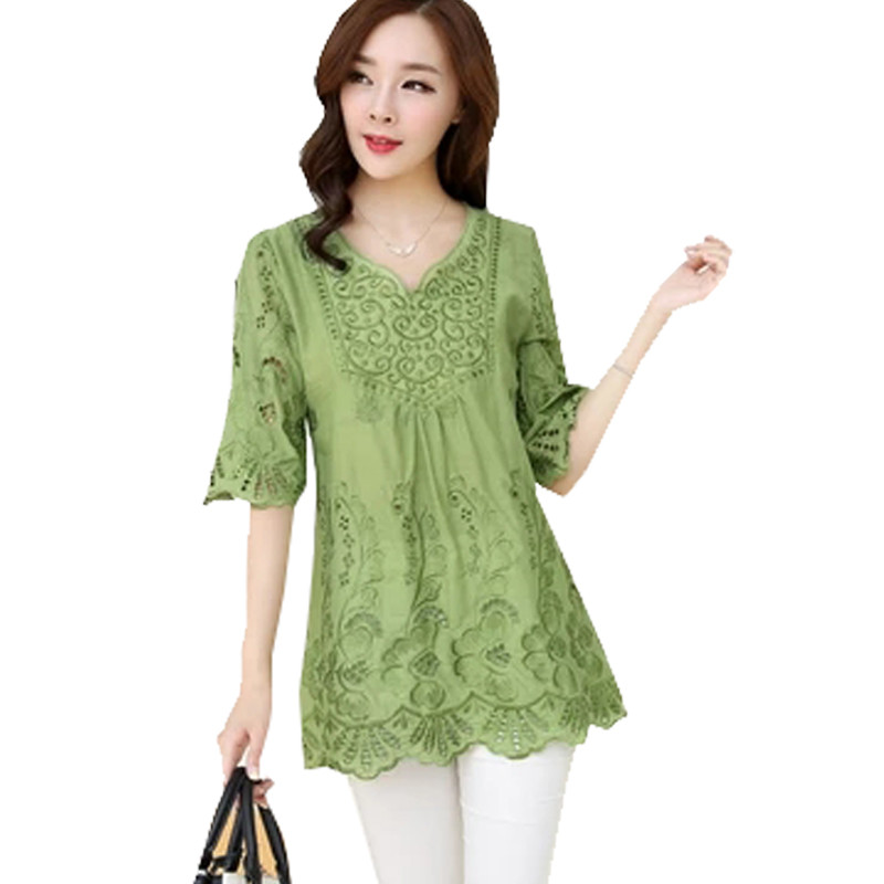Women Tops 2016 Fashion New Women Blouses Embroidery Hot Sell Summer Women Shirt Short Sleeve O