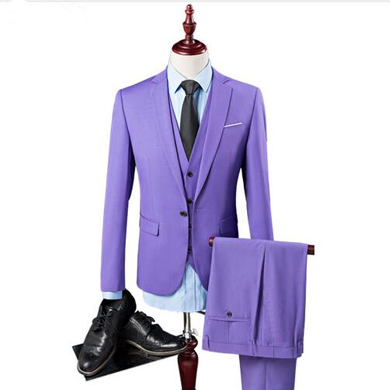 New Three Pieces Purple Men Suit for Wedding Slim Fit Business Prom Party Men Suits Custom Made (jacket+pants+vest)