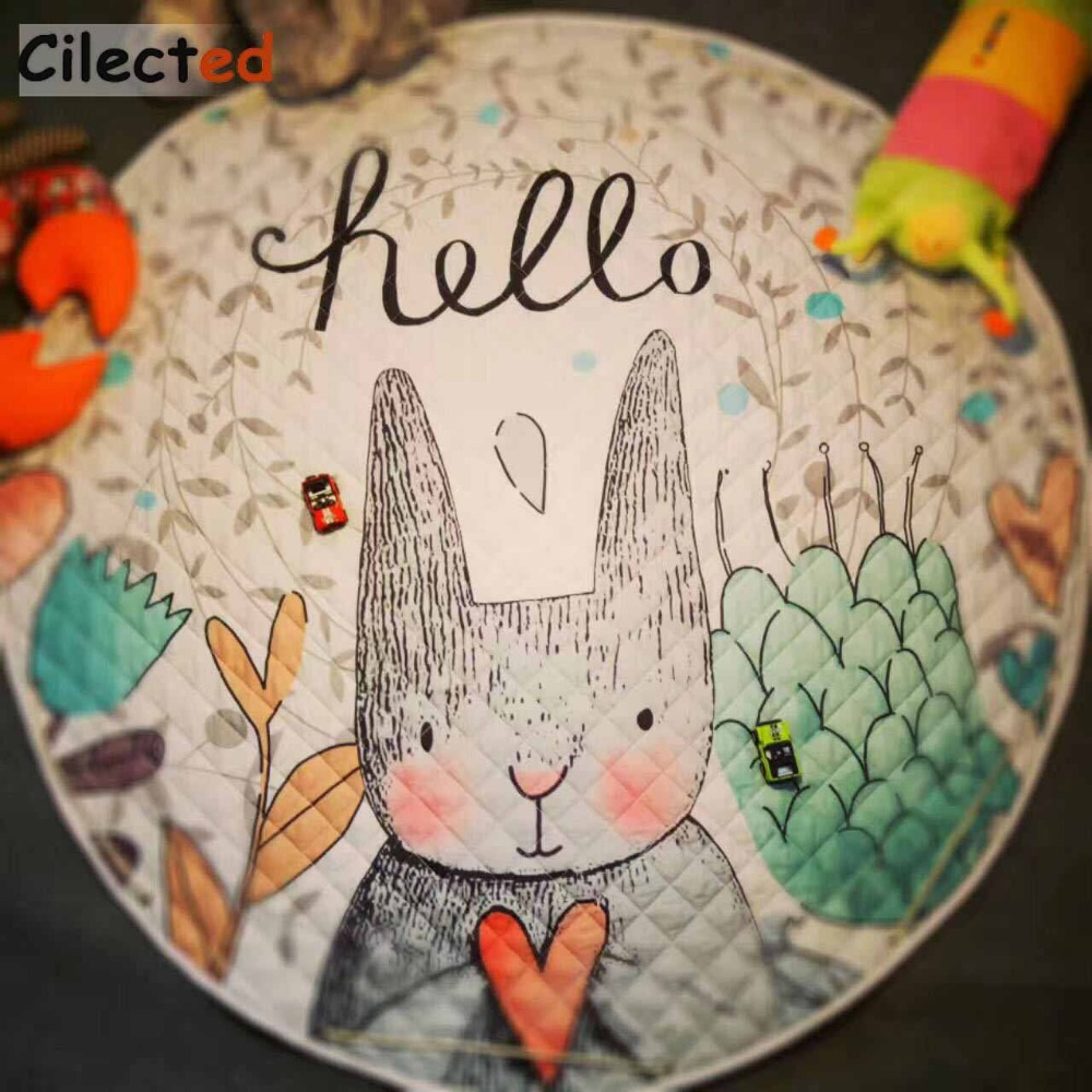 Cilected Cotton Rabbit Carpet Bedroom Decor Round Crawling Developing Mat For Baby Kid Pouch Playing Thick Rug Toys Storage Bag
