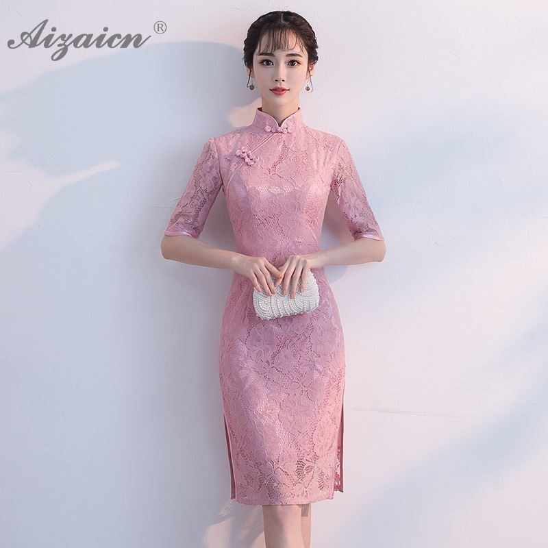 Pink Lace Cheongsam Modern Chinese Traditional Dress Qipao Oriental Style Dresses Evening Gowns China Plus Size Women Clothing