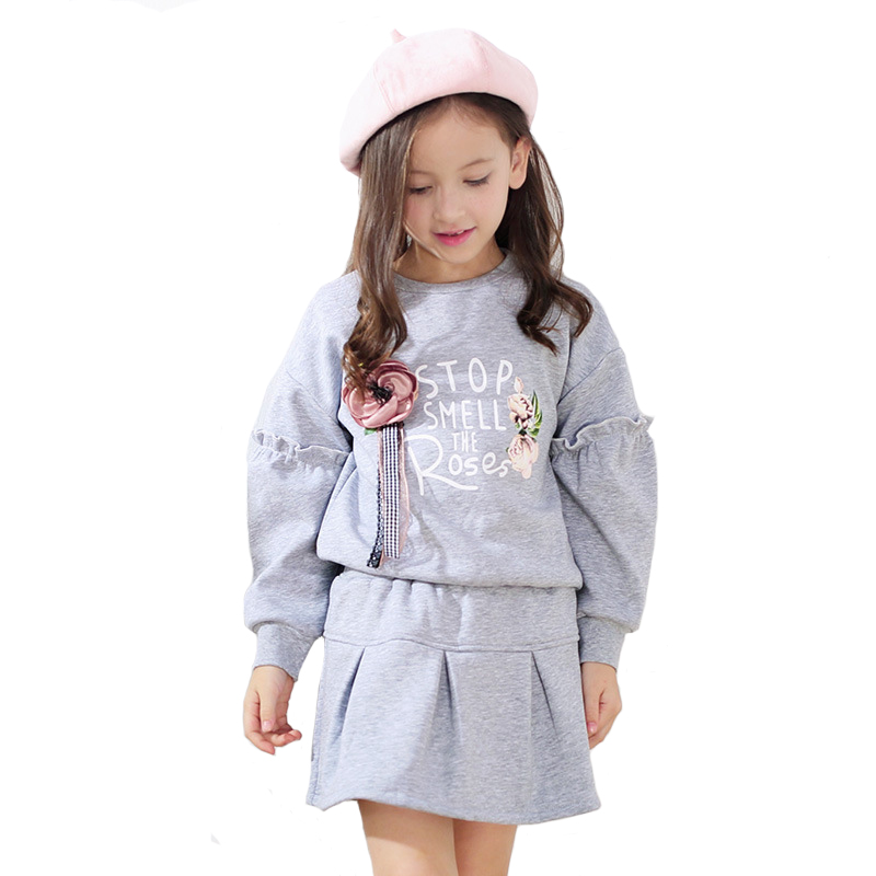 Brand Children's Clothing Girls Princess Skirt Set Baby Cotton Thicker Letter T Shirt+thicker Skirt 2pcs Clothes for 3y-10y t skirt юбка пачка