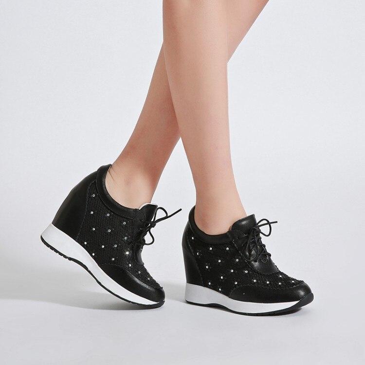 De Mujeres Cuero Mujer Genuino {zorssar} Negro 2018 Mayor Nueva Plataforma Interna Zapatos Moda Las Los blanco Tacones Flores Altos Bombas Casuales 4qYTXYFz
