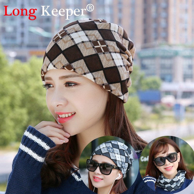 Long Keeper Brand Women's Beanies Scarf Cotton lattice India Stocking Cap Winter Warm Hats Unisex Elastic Turban Hip-Hop Caps pastoralism and agriculture pennar basin india