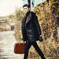 Плюс Размер Повседневная Отложным Меховым Воротником мужская Черная Урожай Норки пальто 2017 Sexy Vintage High Street Теплый Искусственного Меха Пальто V545