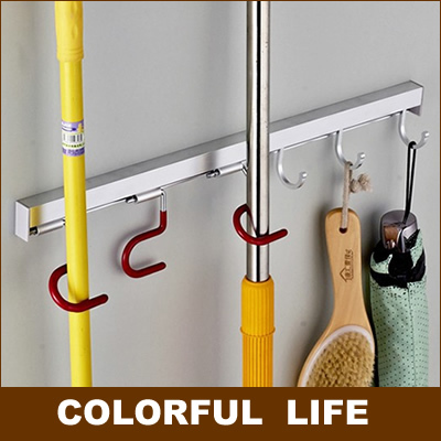 Bathroom Hardware aluminum-magnesium Alloy Useful Mop Rack/holder/shelf Balcony Five Pendant Multi-functional