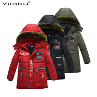 Yilaku Fashion kids jackets winter boys coat Thick Fur Hooded girl winter coat long snowsuit Letter boys clothing with Pockets C