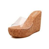 Women Summer Shoes 2017 New Arrival Transparent Platform Wedges Sandals Women High Heels 12CM Shoes Female