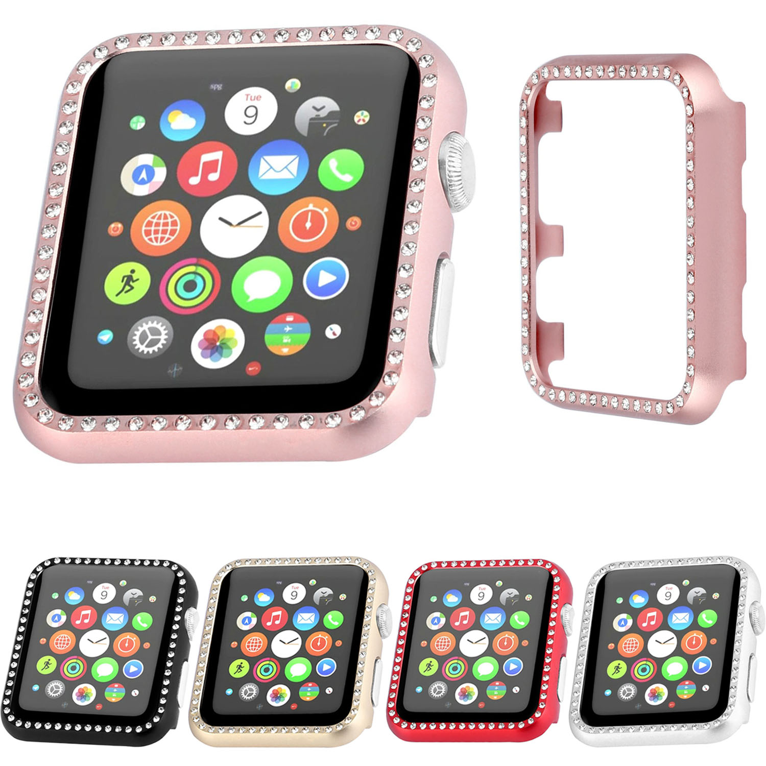 brand new 0c5ad 6d472 US $7.5 25% OFF|5 Colors Luxury Bling Crystal Metal Cover for Apple Watch  Case Diamond Watch Cover for iWatch Series 3 2 1 Case 42mm 38mm Band-in ...