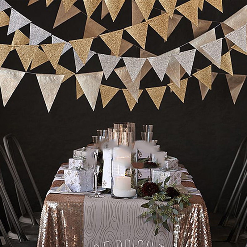 Paper Hanging Decoration Party Wedding Placement Ornaments Silver Gold Shining Banners Children Room Wall Decor Party Supplies27-0