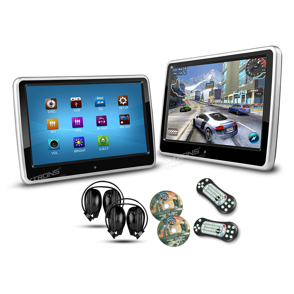 2 10 1 portable pc monitor car headrest dvd player hd 1024 600 ultra