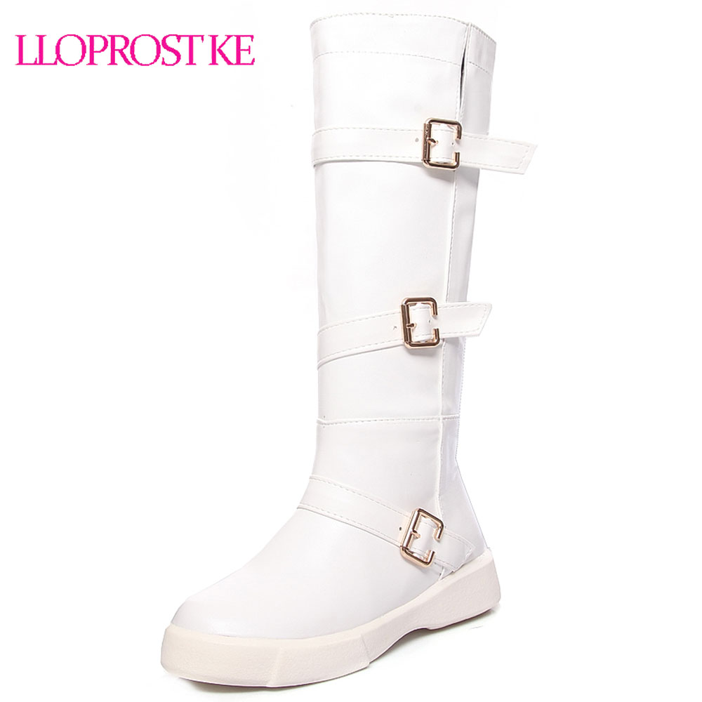 Lloprost ke Big size 34-43 high quality flock knee high boots winter platform warm fur women black white buckle snow boots D355 faux fur buckle knee high snow boots