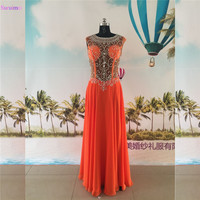 Orange Prom Dresses Beaded Shinning Crystals Floor Length High Neck Nude Back See Through Chiffon Evening Gown Grils Dresses