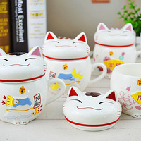 Plutus Cat Style Cups Cute Ceramic Mugs With Lid Creative Moring Mug 300ml For Milk Coffee