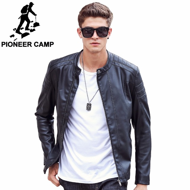 Pioneer Camp Motorcycle Leather Jackets Men Autumn Spring Leather Clothing Male Casual Coats Brand Clothing
