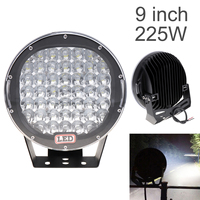 9 Inch Rounded 225W 45x LED Car Worklight Spot / Flood Light Vehicle Headlight Driving Lights for Offroad SUV ATV Truck Boat