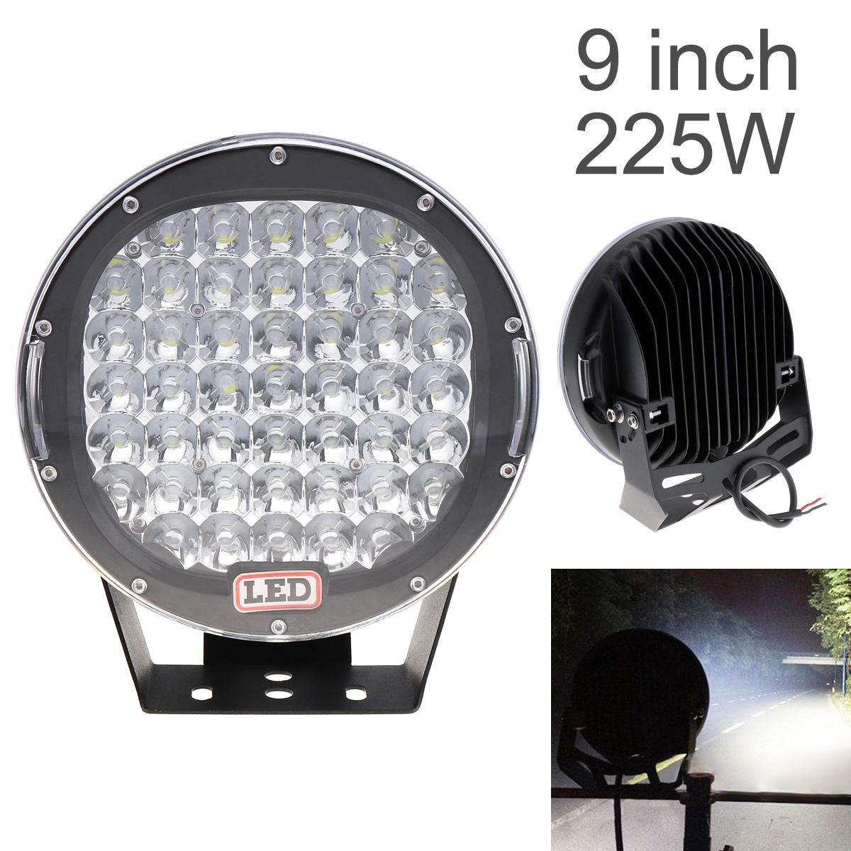 9 Inch Rounded 225W 45x LED Car Worklight Spot / Flood Light Vehicle Headlight Driving Lights for Offroad SUV ATV Truck Boat купить