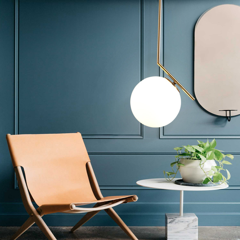 Modern Minimalist Art Deco Pendant Lights Ball Gl Shade Globe Led Hanging Lamp For Living Room Bar Home Light Fixtures