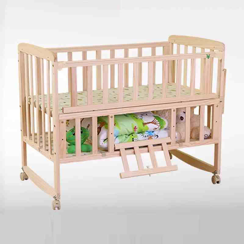 Adjust baby bed with wheels can be desk no paint baby crib for Baby bed with wheels