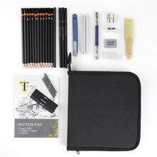 Conda 34Pcs Bleistift Set Holzkohle Earser Zeichnung Bleistift Skizze Set für Zeichnung Malerei mit Tragen Tasche Professionelle Skizzieren Kit