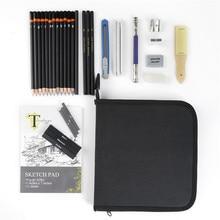 Conda 34Pcs ชุดดินสอถ่าน Earser วาดรูปวาดดินสอสำหรับวาดภาพวาดพร้อมกระเป๋า Professional Sketching Kit